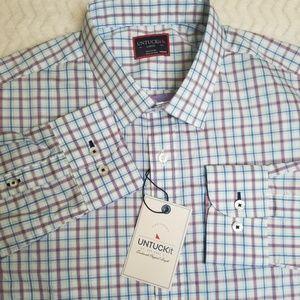 UNTUCKit Men's Button Front Shirt Blue Long Sleeve